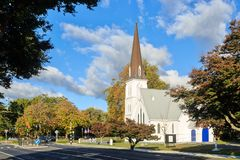 Old church building in autumn landscape royalty free stock images