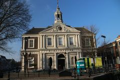 Old church building in the center of Schiedam, The Netherlands. Along the schie stock image