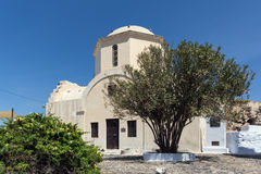Old Church in the castle of Pyrgos Kallistis, Santorini island Stock Photo