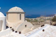 Old Church in the castle of Pyrgos Kallistis, Santorini island, Thira, Greece Stock Photos