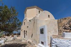 Old Church in the castle of Pyrgos Kallistis, Santorini island, Thira, Greece Royalty Free Stock Photos