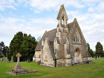 Old Church and Cemetery. View of a Small Rural Gothic Church and Cemetery Stock Images