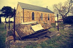 Old church and cemetery royalty free stock photo