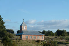Old church in chiloe. A tipycal old church and landscape in chiloe island near castro royalty free stock photos
