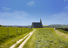Old church on the cliffs of Etretat Royalty Free Stock Images