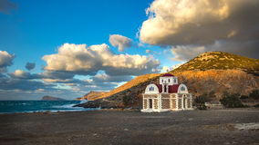 Old church on a coast. Crete, Greece Royalty Free Stock Image