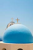 Old church domes in Santorini Royalty Free Stock Photo