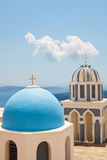 Old church domes in Santorini Stock Image