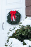 Old Church Door with Christmas Wreath royalty free stock images