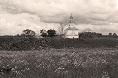 Old church, dramatic sky royalty free stock photo
