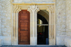 Old church entrance with open door. Royalty Free Stock Images