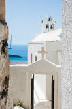 The old Church in the Fira town Stock Photo