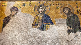 Old church fresco in need of restoration. Christ Deesis Mosaic in Hagia Sophia Turkey Stock Images