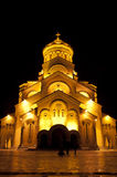 Old church in Georgia. Old christian church in the capital of Georgia, Tbilisi at night royalty free stock images