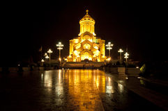 Old church in Georgia. Old christian church in the capital of Georgia, Tbilisi at night stock photo