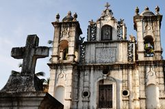 Old church Goa India. Facade or exterior of St. Anthony's church at Anjuna, Goa, India Stock Photos