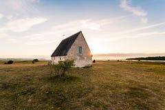 A old church in Gotland Klintehamn. An antique church of limestone by the sea Royalty Free Stock Photos