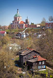 Old church on the hill and living houses in Smolen Royalty Free Stock Photography