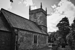 Old church, Holcombe, Somerset. Black and white old church Royalty Free Stock Photography