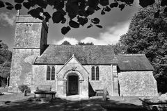 Old church, Holcombe, Somerset . Black and white old church Stock Photography