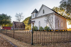 Old church and homes. In the historic landmark park near Dothan, Alabama Royalty Free Stock Photos
