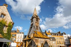 Old church in Honfleur, France. Saint Catherine Old wooden church in Honfleur, famuos french town in Normandy royalty free stock photography