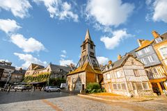 Old church in Honfleur, France. Saint Catherine Old wooden church in Honfleur, famuos french town in Normandy royalty free stock photos