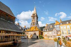 Old church in Honfleur, France. Saint Catherine Old wooden church in Honfleur, famuos french town in Normandy stock image