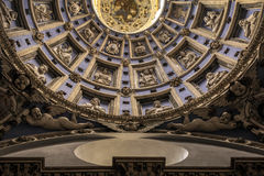 Old  Church, inside the dome with sculptures of angels. cathedr Stock Photography