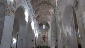 Old church interior restoration stock video