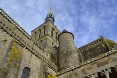 Old church on the island of Saint Michel stock photos