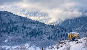 Old Church and Laila glacier. In winter Stock Images