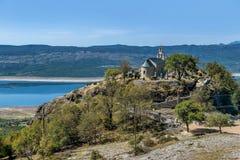 Old church by the lake Bilecko, Bosnia and Herzegovina.  Stock Photo