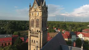 Old church Lucka medieval town Germany Thuringia. Panorama stock footage