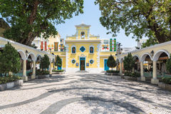 Old church in Macau. The church of St. Francis Xavier in the charming village of Coloane in Macau Stock Images
