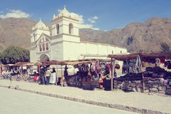 Old church by the market square in Colca Canyon. Stock Photo