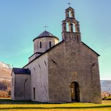 Old church, marks od grenades are visible on walls royalty free stock photos