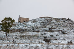 Old church near Sannicola after a exceptional snowfall Royalty Free Stock Photography