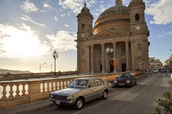 Old Church and Old Car View Stock Image