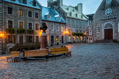Old Church in the Old Port. Quebec City, Quebec, Canada - Sept. 9, 2015:  Night brings a romantic character to the old stone buildings of historic Quebec City Royalty Free Stock Photography