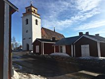 Old Church in Old Town Gammelstad Sweden royalty free stock image