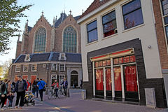 Old Church Oude Kerk in Red-light district, Amsterdam, Netherl royalty free stock photos
