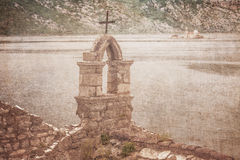 The old church overlooking the sea in bad weather Royalty Free Stock Image