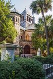 Old Church Among Palm Trees Stock Photo