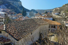 Old church and panorama to ancient Melnik town, Bulgaria Royalty Free Stock Photography