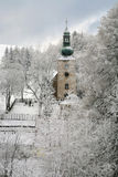 Old church in Pasterka by winter. Small, old church in Polish village -  Pasterka - Table Mountains by winter Royalty Free Stock Photos