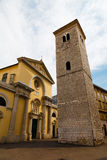 Old Church with Pillars and Bell Tower Stock Photo