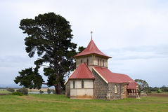 Old church and pine tree in rural setting Royalty Free Stock Photo