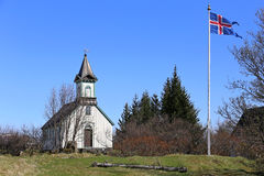 Old church Pingvallkirkja on sunny day in Thingvellir, Iceland Stock Images