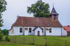 Old church in Poland. Old Evangelical Church in small Ransk village in Masuria region of Poland royalty free stock photography